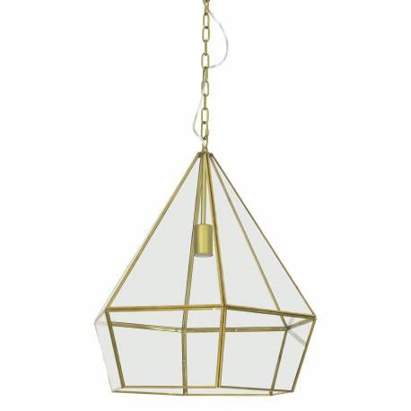Suspension Design HIDAYA Luminaire Graphique Tendance Eclairage Forme Géométrique en Verre et Métal Bronze 44x44x50cm