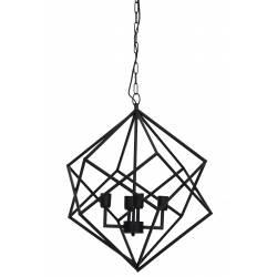 Magnifique Lustre Formes Géométriques DRIZELLA Suspension Plafonnier 4 Lumières Luminaire en Métal Noir 61x61x68cm
