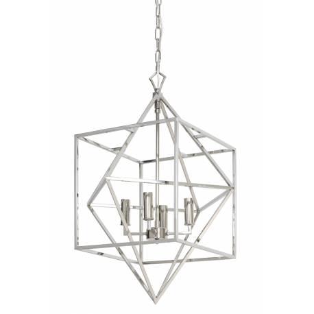 Lustre Formes Géométriques CHARELLE Suspension moderne Plafonnier 4 Lumières Luminaire en Métal Traitement Nickel 56x56x80cm