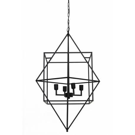 Suspension moderne BAULA Lustre Formes Géométriques Plafonnier 4 Lumières Luminaire en Métal Patiné Noir 66x66x107cm