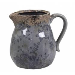 Pichet Motifs Floraux Vase Soliflore Broc Décoratif en Terre Cuite Emaillée dans les Tons Bleus 13x15,5x17cm
