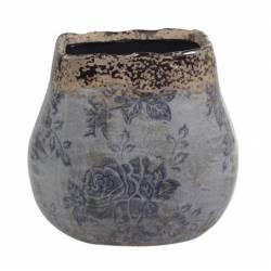 Grand Pot Décoratif Motifs Floraux Vase Pot à Crayons Broc en Terre Cuite Emaillée dans les Tons Bleus 13x14x14cm