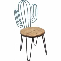 Chaise Cactus Marque Hanjel Siège de Salon Séjour au Style Exotique en Acier Fer et Bois 45x51x88,5cm