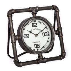 Horloge de Comptoir Style Loft Industriel Pendule à Poser Tuyau en Fer Patiné Gris 15x29x29,5cm
