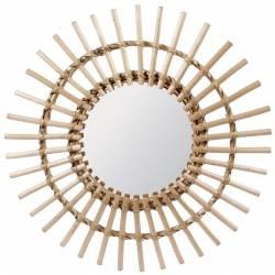 Fantastique Miroir Tendance Glace Décorative Ronde Design Soleil Armature Naturel en Rotin 3x65x65cm