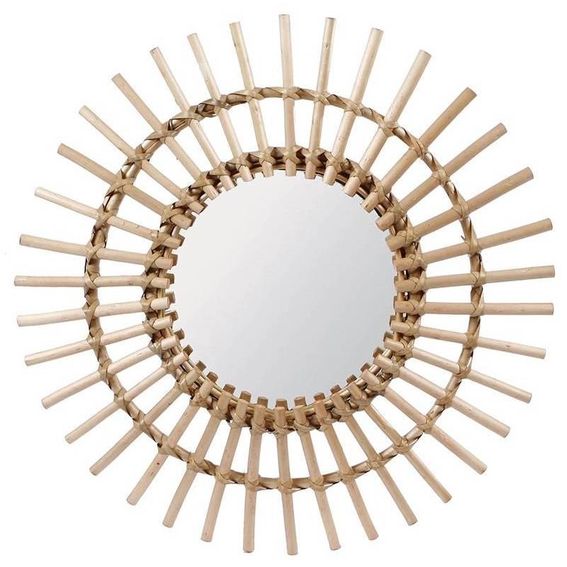 Fantastique miroir tendance grande glace d corative ronde design soleil armature naturel en for Grande glace miroir