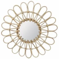 Fantastique Miroir Tendance Grande Glace Décorative Ronde Design Fleur Armature Naturel en Rotin 3x65x65cm