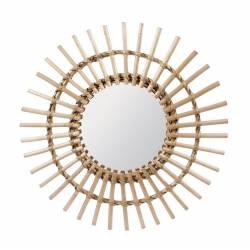 Fantastique Miroir Tendance Glace Décorative Ronde Design Soleil Armature Naturel en Rotin 3x55x55cm