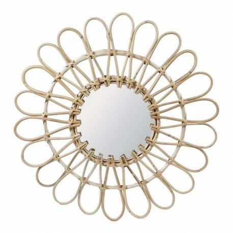 Fantastique Miroir Tendance Glace Décorative Ronde Design Fleur Armature Naturel en Rotin 3x55x55cm