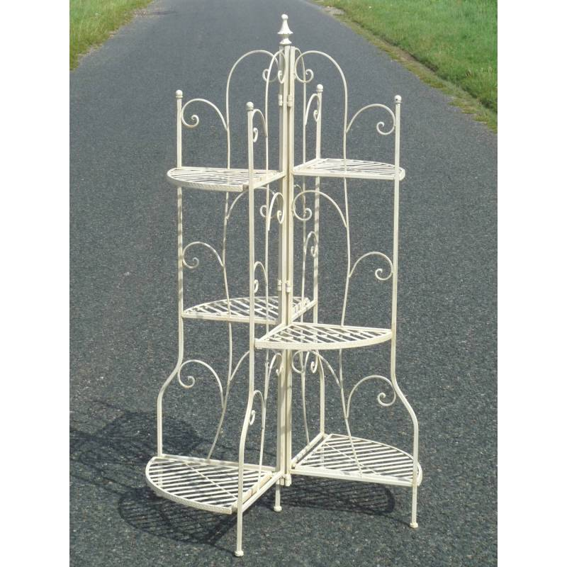 Meuble etag re escalier biblioth que porte plante en fer for Meuble porte plante bois