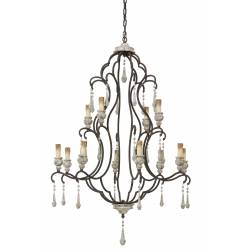 Grand Plafonnier Hollandais 2 Etages ZANETA Lustre Pampilles 12 Lumières Luminaire Suspension en Métal Blanc Antique 90x90x140cm