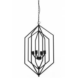 Plafonnier Hexagonale ANASTASIA Luminaire Moderne Géométrique Lustre 4 Lumières Suspension en Métal Noir 53x53x93cm