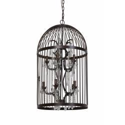 Luminaire Cage à Oiseaux PILLENORE Lustre à Pampilles Eclairage 10 Lumières Suspension en Métal Patiné Rouille 54x54x90cm