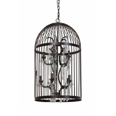 Suspension Eclairage À Pampilles Rouille En Pillenore Oiseaux Cage Métal 10 Patiné Lumières Luminaire 54x54x90cm Lustre ARj534L