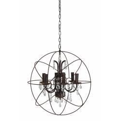 Lustre Géométrique Forme Sphère GERION Plafonnier 6 Lumières Luminaire Pampilles en Verre et Métal Patiné Rouille 60x60x60cm