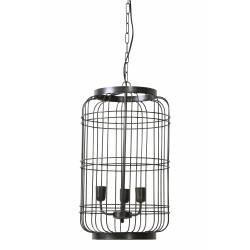Suspension Industrielle UDAYA Lustre 3 Lumières Luminaire Cage vintage Plafonnier en Métal Patiné Zinc Antique 36x36x61cm
