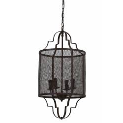 Eclairage à Suspendre LORELEI Lustre 4 Lumières Luminaire Cage vintage Plafonnier en Métal Patiné Marron 40x40x81cm