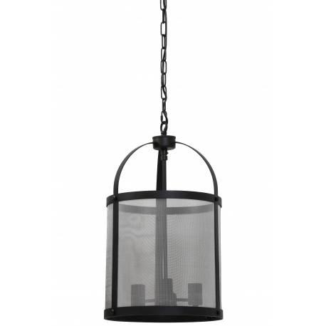 Eclairage à Suspendre LANCELOT Lustre 3 Lumières Luminaire Cage vintage Plafonnier en Métal Patiné Noir 35x35x59cm