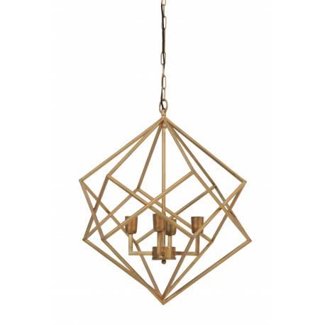 Lustre Formes Géométriques DRIZELLA Suspension Plafonnier 4 Lumières Luminaire en Métal Or 61x61x68cm
