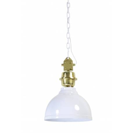 Suspension CLINTON Luminaire à Suspendre Plafonnier Lampe 1 Lumière Ampoule en Métal Patiné Blanc et Or 35x35x50cm