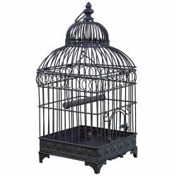 Moyenne Cage à Oiseaux de Jardin Intérieur Extérieur Ronde en Fer Patiné Marron 20x20x49,5cm