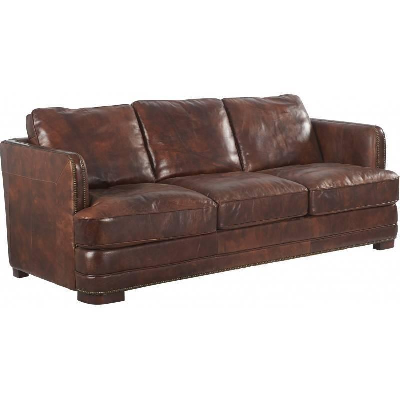 canap parker marque hanjel banquette sofa si ge de salon 3 places en h v a et cuir fine fleur. Black Bedroom Furniture Sets. Home Design Ideas