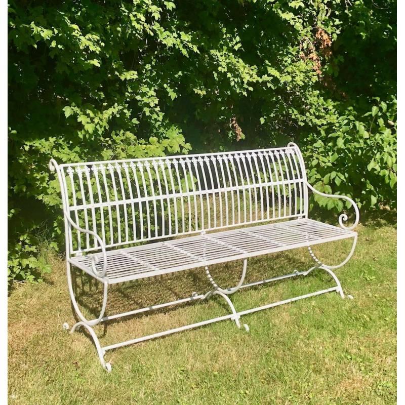 banc de jardin banquette en fer blanc 3 places personnes fauteuil de jardin mobilier de qualit. Black Bedroom Furniture Sets. Home Design Ideas