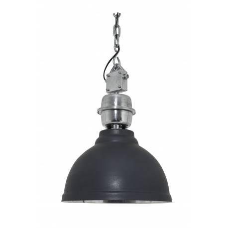 Suspension Clinton Luminaire à Suspendre Plafonnier Lampe 1 Lumière Ampoule en Métal Patiné Acier et Gris Beige 52x52x55cm