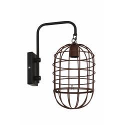 Eclairage Mural en Forme de Cage BRENDA Applique Décorative Luminaire Tendance en Métal Patiné Noir et Rouille 20x33x43cm