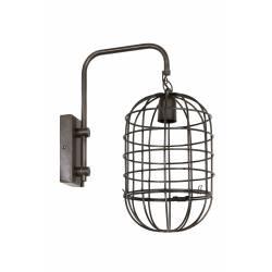 Eclairage Mural en Forme de Cage BRENDA Applique Décorative Luminaire Tendance en Métal Patiné Noir 20x33x43cm