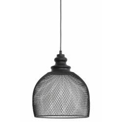 Eclairage en Forme de Cloche Grillagé KARLA Luminaire Vintage Indus Suspension en Métal Couleur Noire 28x28x30cm