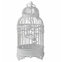 Petite Cage à Oiseaux de Jardin Intérieur Extérieur Ronde en Fer Patiné Blanc 16x16x37cm