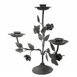 Bougeoir de Table Triple à Poser ou Candélabre Décoratif 3 Feux en Fer Patiné Gris 11x25x26,5cm