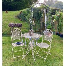 Salon de Jardin 2 Personnes Salon de Thé Bistrot 1 Table 2 Chaises Pliables en Fer Blanc