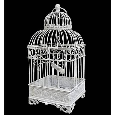 Petite Cage à Oiseaux de Jardin Intérieur Extérieur Carrée en Fer Patiné Blanc 16x16x42cm