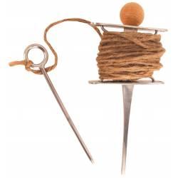 Cordeau de Jardinage de Potager Pic Piquet en Inox et Harmonisé d'une Boule en Bois de Frêne 6x12x27cm