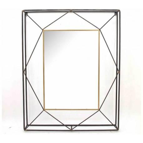 Grand Miroir Alabama Marque Athezza Miroir Rectangulaire aux Design Géométrique en Acier Verni et Doré 10x76x96cm