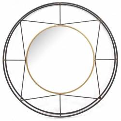 Grand Miroir Alabama Marque Athezza Miroir Rond au Design Géométrique en Acier Verni et Doré 6x82x82cm