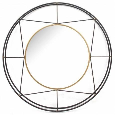Grand Miroir Alabama Marque Athezza Miroir Rond aux Design Géométrique en Acier Verni et Doré 6x47x82cm