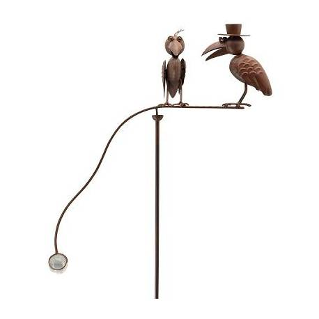 Tuteur Tige pour Plantes Motifs Corbeaux Mobile de Jardin Rotatif à Planter en Fer Patiné Marron et Verre 15,5x61x145cm