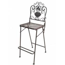 Chaise Haute Pliante Fauteuil de Bar Pliable ou pour Ilot Central en Fer Forgé Marron 39x116cm