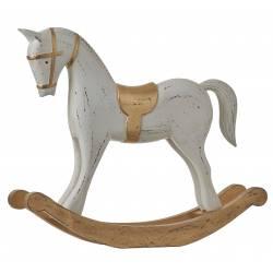 Grand Cheval a Bascule Décoratif en Bois Patiné Blanc à l'Ancienne 8,5x31,5x38cm