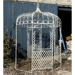 Tonnelle Pergola Gloriette en Fer Forgé Blanc Abris Kiosque de Jardin Rond 196x196x314cm