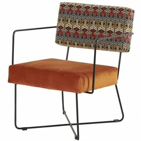 Fauteuil Kaline Bras Arcona Orange Chaise Siège Salon Art Déco Accoudoirs en Fer Noir et Velours à Motifs 55x68x76cm
