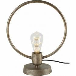 Lampe Ronde Tora à Poser Luminaire Design Eclairage 1 Ampoule Electrique en Fonte d'Aluminium Brute 15x30x37cm