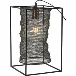 Lampe Nace Athezza Eclairage à Poser ou Suspendre Luminaire Vintage 1 Ampoule en Métal Patiné Noir 25x25x40cm