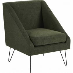 Fauteuil Half Vert Canard Hanjel Siège de Salon Chic et Confort Style Scandinave en Métal et Tissu 62x69x76cm