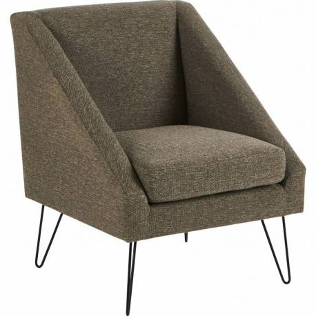 Fauteuil Half Gris Hanjel Siège de Salon Chic et Confort Style Scandinave en Bois Métal et Tissu 62x69x76cm