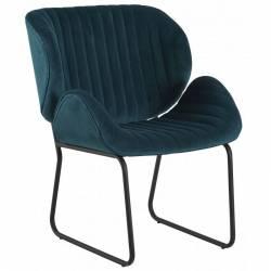 Fauteuil Tendance LUVANA Marque Hanjel Siège de Salon Design Chaise Moderne en Acier et Velours Bleu Canard 58x65,5x82,5cm