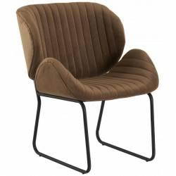 Fauteuil Tendance LUVANA Marque Hanjel Siège de Salon Design Chaise Moderne en Acier et Velours Weimar 58x65,5x82,5cm